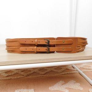 J. Crew Cognac Wide Double Buckle Leather Belt